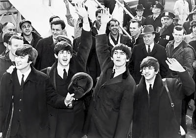 Beatles Arrive In New York  1964 Poster