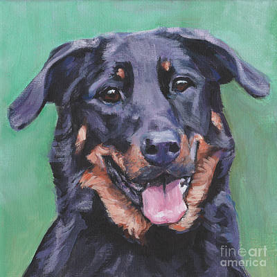 Poster featuring the painting Beauceron Portrait by Lee Ann Shepard