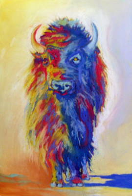Poster featuring the pastel Beaus Buffalo by Pat Crowther
