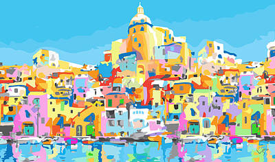 Beautiful Island Of Procido, Italy Poster by Inge Lewis