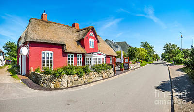 Beautiful And Traditional Thatched House In German North Sea Vil Poster