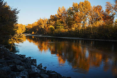 Beautiful Autumn Reflection Along Boise River Poster