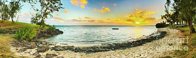 Beautiful Beach At Sunset. Panorama Poster by MotHaiBaPhoto Prints