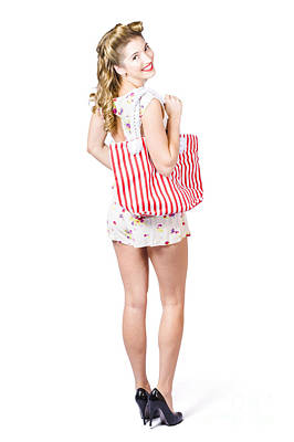 Beautiful Blond Female Shopper Holding Shop Bag Poster