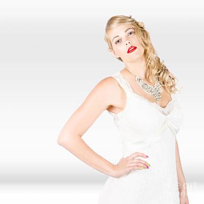 Beautiful Blonde Female Model In Wedding Fashion  Poster