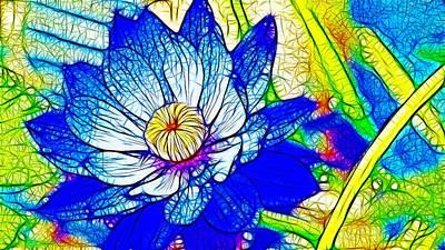 Beautiful Blue Waterlily 2 Poster