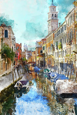 Beautiful Boats In Venice, Italy Poster