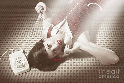 Beautiful Brunette Pinup Woman On Vintage Phone Poster by Jorgo Photography - Wall Art Gallery