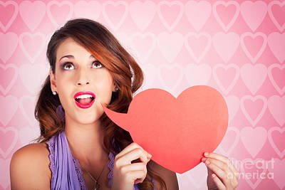 Beautiful Brunette Woman Shouting Out Love Message Poster by Jorgo Photography - Wall Art Gallery