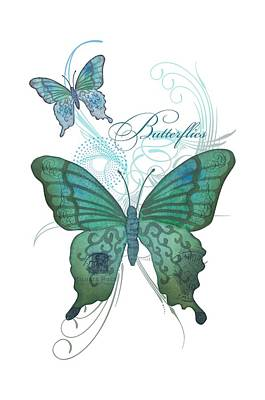 Beautiful Butterflies N Swirls Modern Style Poster