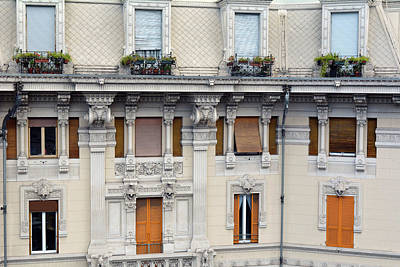 Beautiful Decorative Classical Building Facade From Genova Poster
