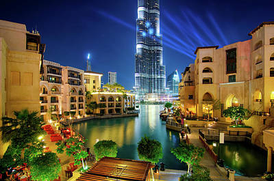 Beautiful Downtown Area In Dubai At Night, Dubai, United Arab Emirates Poster
