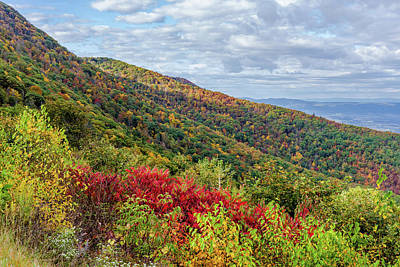 Poster featuring the photograph Beautiful Fall Foliage In The Blue Ridge Mountains by Lori Coleman