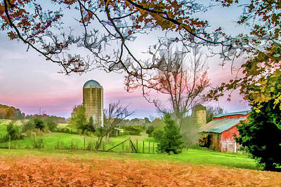 Beautiful Farm In Fall Poster