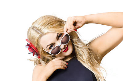 Beautiful Fashion Woman Wearing Sunglasses Poster