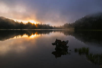 Beautiful Foggy Sunrise At Reflection Lake Poster by Vishwanath Bhat