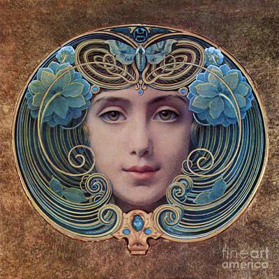 Beautiful French Art Nouveau Woman Poster
