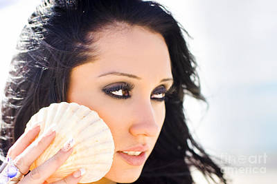 Beautiful Girl Holding A Cockle Shell Poster