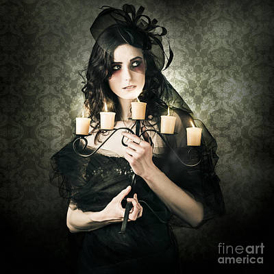 Beautiful Grunge Woman In Dark Vogue Fashion Style Poster by Jorgo Photography - Wall Art Gallery