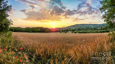 Beautiful Harvest Field Near Assisi At Sunset, Umbria, Italy Poster by JR Photography
