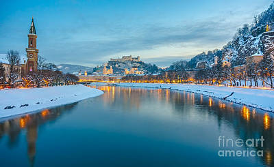 Beautiful Historic City Of Salzburg  In Winter At Night, Austria Poster by JR Photography