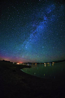 Beautiful Milkyway Over Lake Cascade In Idaho Usa Poster