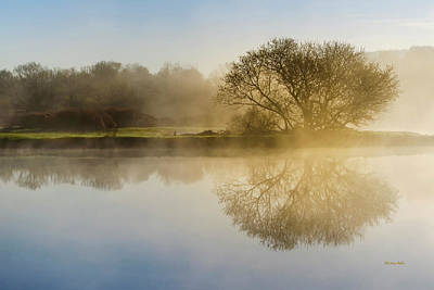 Beautiful Misty River Sunrise Poster