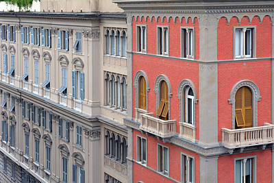 Beautiful Ornamented Buildings From Genova, Italy Poster