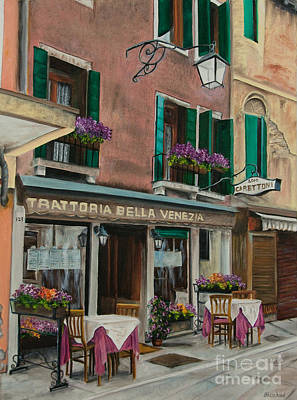 Beautiful Restaurant In Venice Poster by Charlotte Blanchard