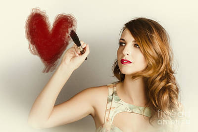 Beautiful Retro Girl Painting Red Love Heart Poster by Jorgo Photography - Wall Art Gallery