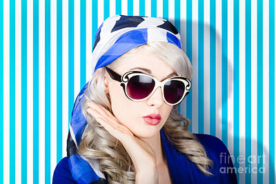 Beautiful Retro Pinup Girl In Scarf And Sunglasses Poster