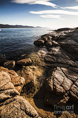 Beautiful Rock Covered Coastline Poster