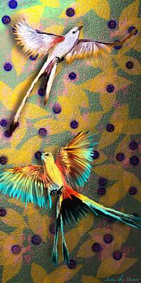 Beautiful Scissor-tailed Flycatchers Poster by Iowan Stone-Flowers