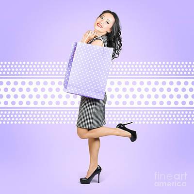 Beautiful Smiling Chinese Asian Shopping Woman  Poster