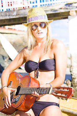 Beautiful Sunglasses Girl Playing Guitar Outdoors Poster