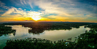 Beautiful Sunset Over Lake Wylie South Carolina Poster by Alex Grichenko