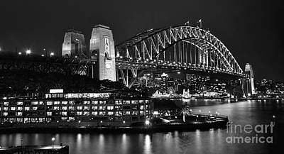 Beautiful Sydney Harbour In Black And White Poster by Kaye Menner