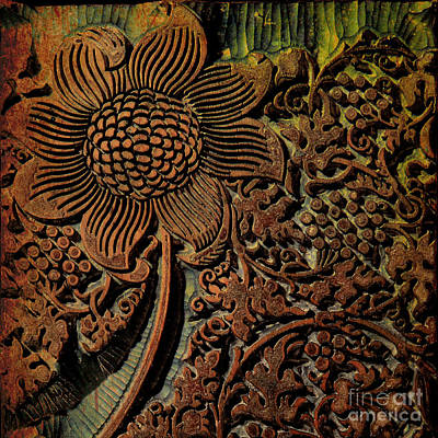 Beautiful Vintage Arts And Crafts Carved Wood Stamp Poster