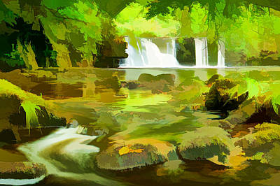 Beautiful Waterfall River Poster by Lanjee Chee