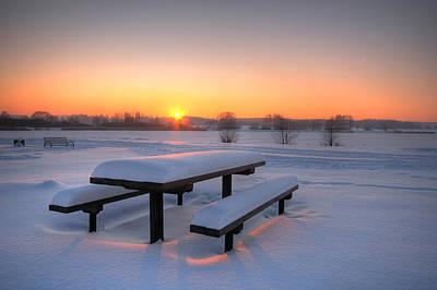 Beautiful Winter Sunset Poster by Jaroslaw Grudzinski