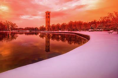 Beautiful Winter Sunset Over Furman University Poster