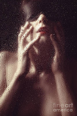 Beautiful Woman Photographed Behind A Window With Rain Drops Poster