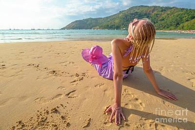 Beautiful Woman Sunbathing On Beach Poster