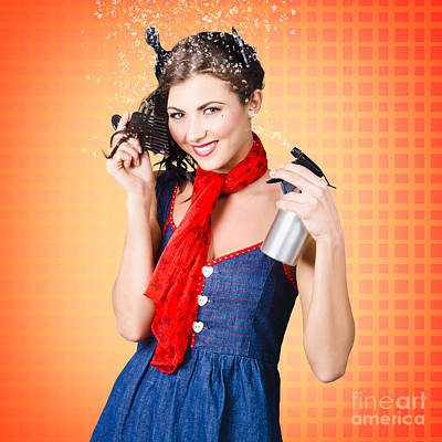 Beautiful Woman Using Hair Product To Pin Up Hair Poster