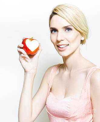 Beautiful Woman With Apple And Love Heart Bite Poster