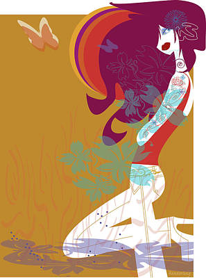 Beautiful Woman With Tattoos Poster by Lisa Henderling