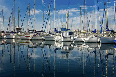 Beautiful Yachts Moored In The Marina Poster