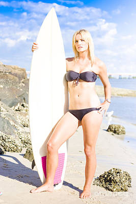 Beautiful Young Blond Surf Woman Poster