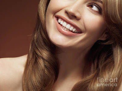Beautiful Young Smiling Woman Poster by Oleksiy Maksymenko