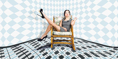 Beautiful Young Woman Sitting In A Trendy Shoes Poster